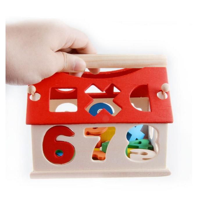 Ngôi nhà thả hình khối đồ chơi giáo dục - Đồ chơi gỗ