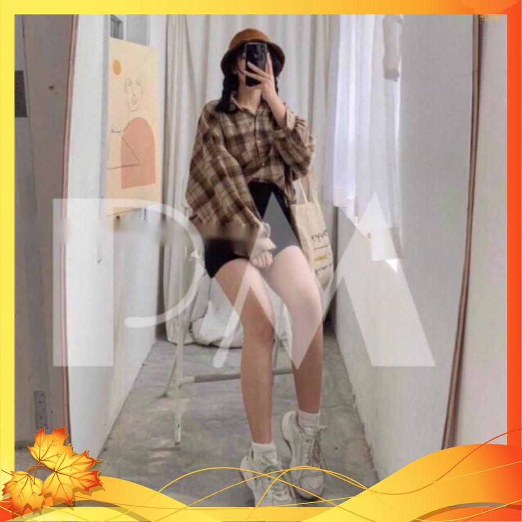 Áo Sơ Mi Nữ ❤️Áo Sơ Mi Kẻ Caro ❤️Form rộng tay dài-chất liệu TiCi cực mềm cực mát năng động trẻ trung Mã TT05