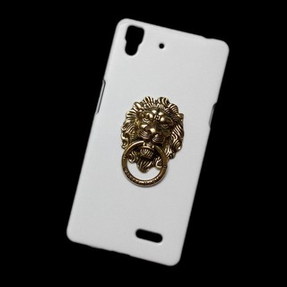 For OPPO R7 Bronze Lion Head Ring Stand Holder Back Hard Case Cover