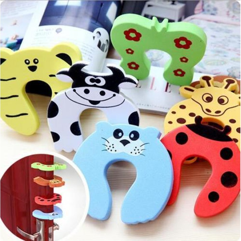 2 x Pack Child Baby Toddler Safty Door Guard Animal Cartoon Finger Pinch Stop