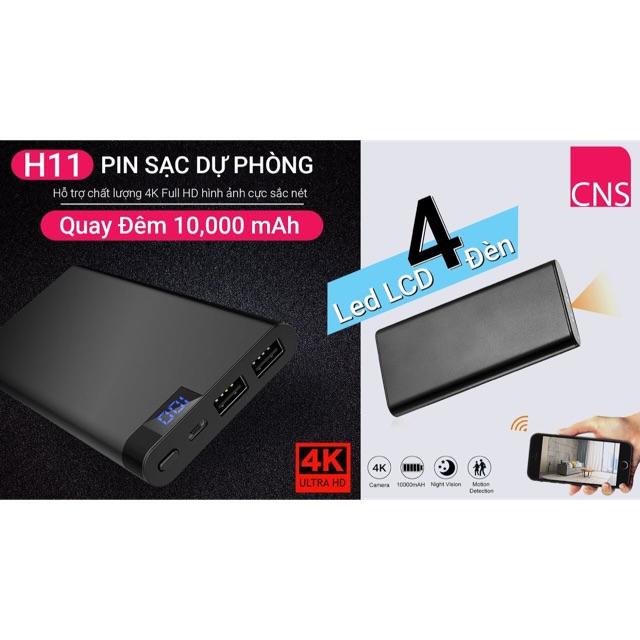 Camera wifi pin sạc dự phòng H11 hình ảnh 4K phiên bản hồng ngoại quay đêm siêu nét, pin 10.000mah, lọc âm thanh tốt.