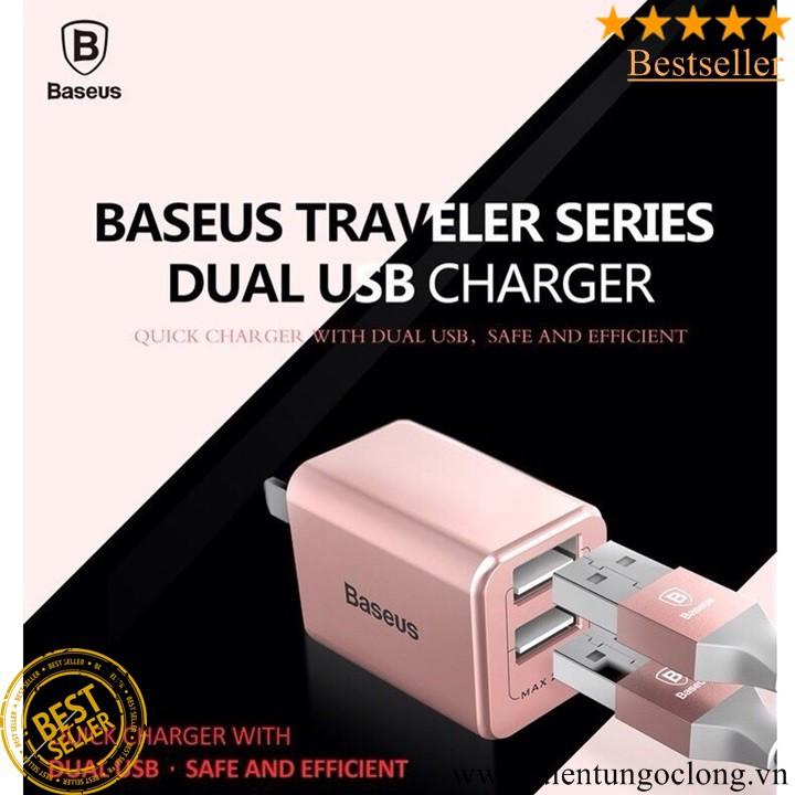 Sạc Baseus 2 Cổng USB 2.4A Traveler Series Chính Hãng