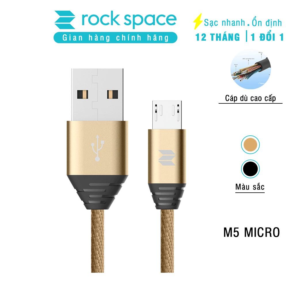 Cáp sạc Rock Space M5 cổng micro usb dây dù 1m dùng cho các dòng điện thoại android - Hàng chính hãng bảo hành 12 tháng