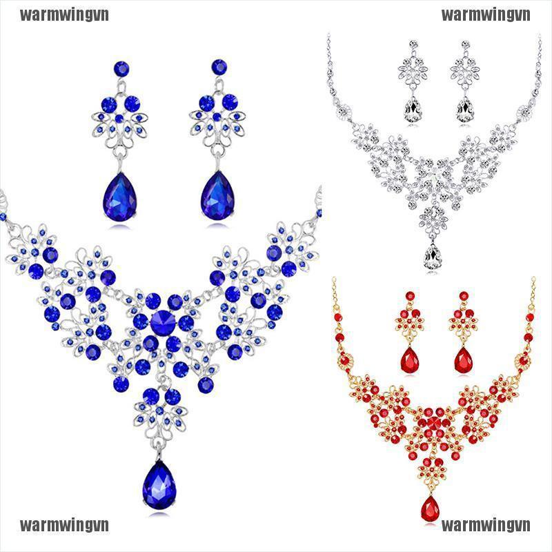 Crystal Rhinestone Necklace Drop Earrings Jewelry Set Prom Wedding Accessories ingvn