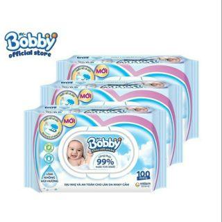 1 gói khăn ướt bobby không mùi 100 miếng