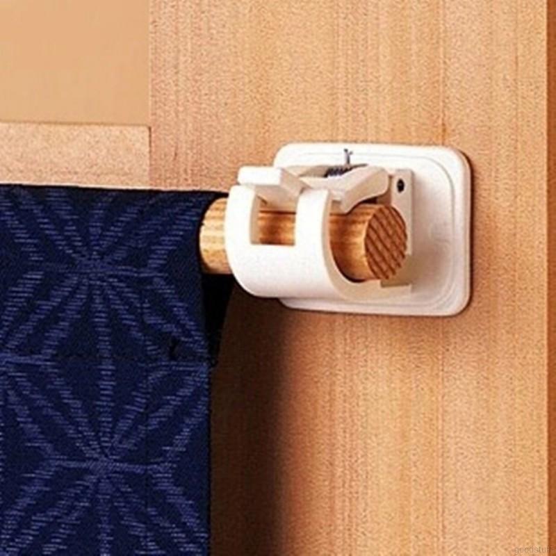 Bộ 2 móc treo rèm cửa tiện lợi màu trắng - Kẹp giữ thanh treo rèm dán tường (kích thước 4,5x4,2x3,2cm)