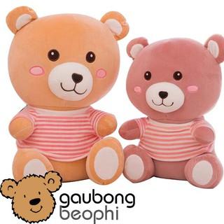 Gấu Bông Má Hồng Mũm Mĩm Mặc Áo Sọc – Nhiều Size – Vải Nhung Siêu Mịn – Quà Tặng Valentine 14/2 Cho Nàng