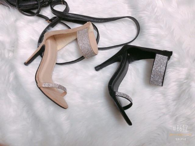 Giày gót nhọn quai đính đá  - Từ 7-10cm - Giày cao gót nữ - Giày nữ sang trọng