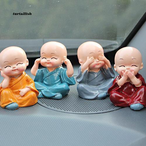 TUR♥4Pcs Car Home Room Decoration Cute Cartoon Miniature Monks Micro Landscape