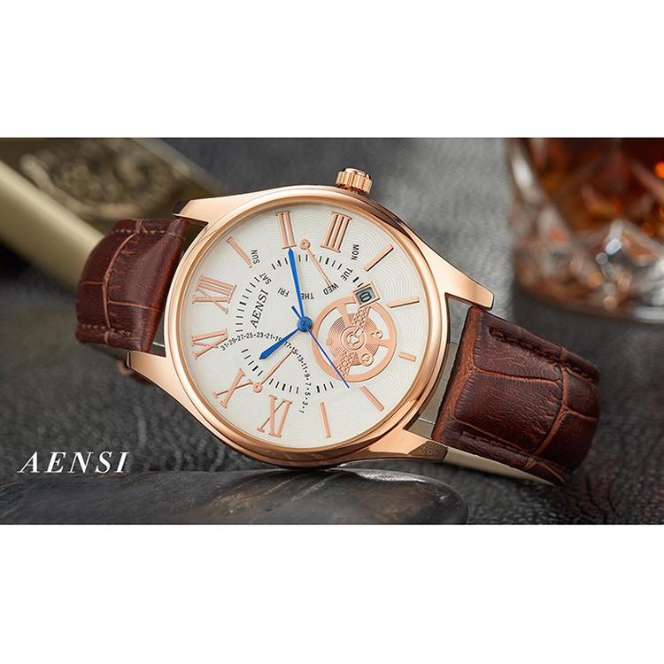 Đồng hồ nam Aensi dây da cực chất