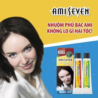 Nhuộm phủ bạc dược thảo Nhanh 7 Phút AMI SEVEN REFILL (Loại tiết kiệm) S4 Nâu hạt dẻ (60g+60g) Hàn Quốc thumbnail