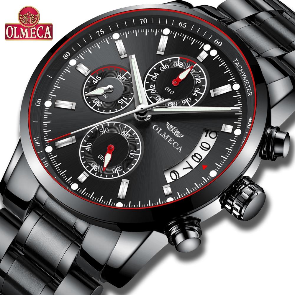 นาฬิกาผู้ชายแท้ OLMECA 0828   ควอตซ์ผู้ชายนาฬิกาสามตาหกเข็มชีวิตกันน้ำ 30 เมตร + กล่อง