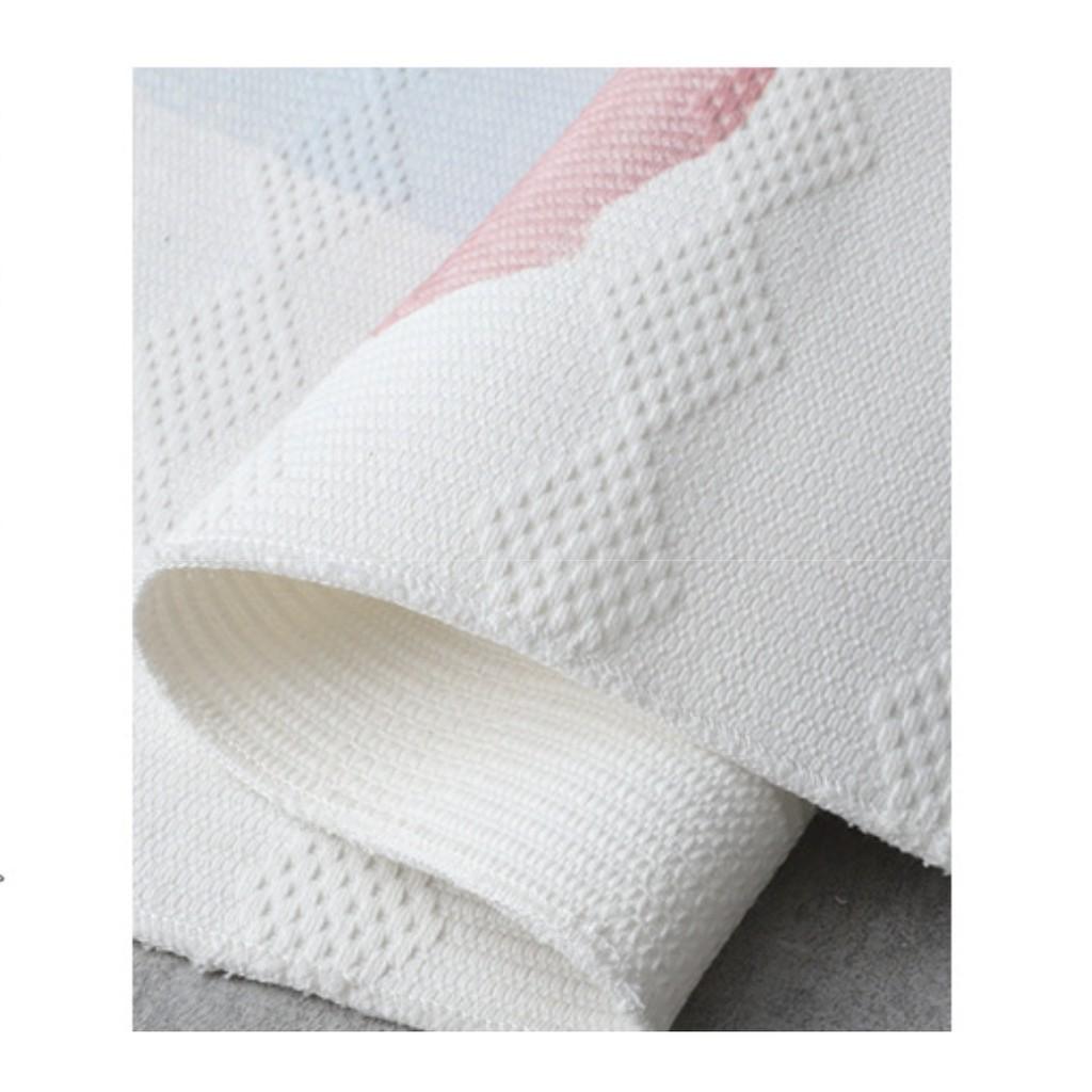 Thảm phòng khách cotton linen 120x170cm tua rua hoa văn hiện đại