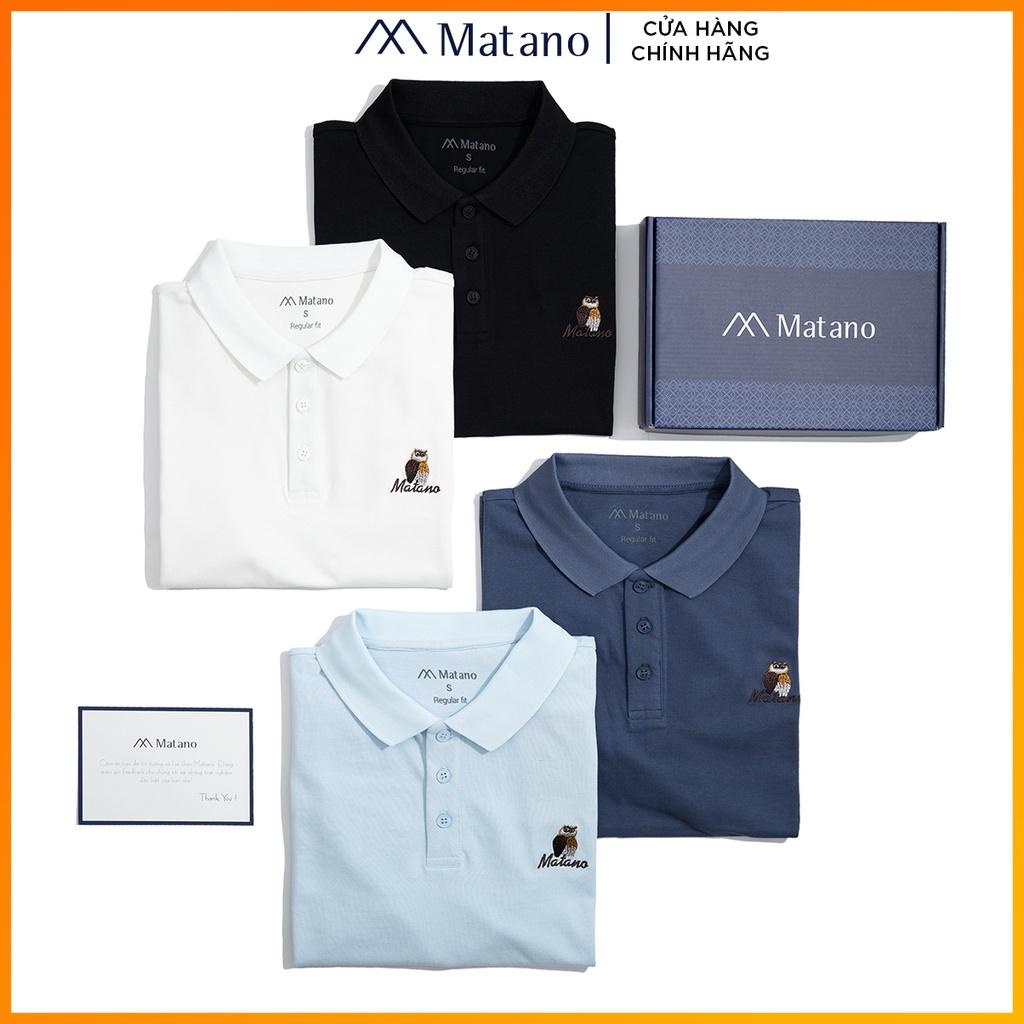 Áo thun polo nam cá sấu MATANO - Áo phông nam có cổ trụ bẻ, vải cotton cao cấp chính hãng, thêu họa tiết chim đẹp 027