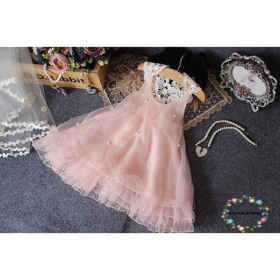 Đầm voan cộc tay đính kim cương giả dễ thương cho bé