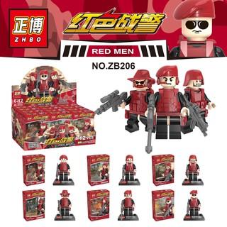 Lego Minifigures set 6 hộp army đỏ