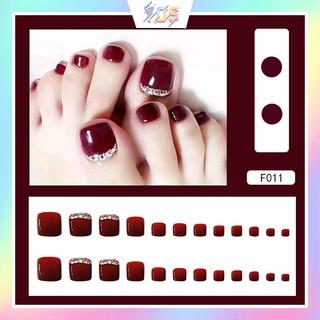 Bộ 24 móng chân giả (kèm keo - dùng nhiều lần - Mã F001-F004) thumbnail