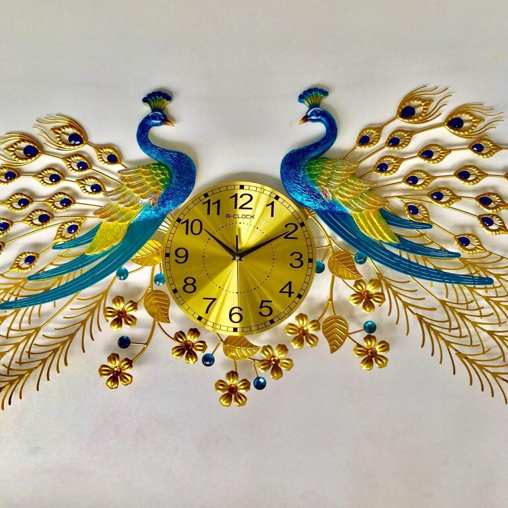 Đồng hồ treo tường chim công đôi phú quý- trang trí phòng khách sạn nhà hàng , quà tặng tân gia .