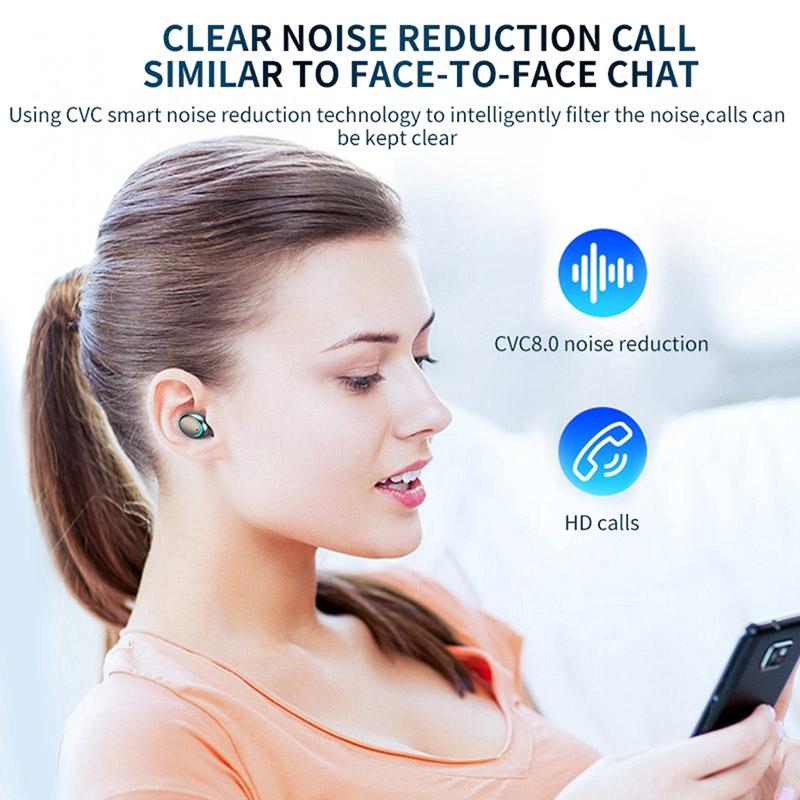 Tai nghe Vitog F9 TWS không dây Bluetooth 5.0 chống nước kèm hộp sạc 1200mah nút cảm ứng có đèn LED