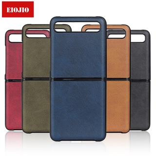 foldable leather phone case for samsung galaxy z flip case cover for samsung galaxy z flip zflip sm-f700 shockproof coque fundas