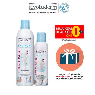 Bộ xịt khoáng dưỡng da cấp ẩm Evoluderm Atomiseur Eau Pure 400ml và 150ml