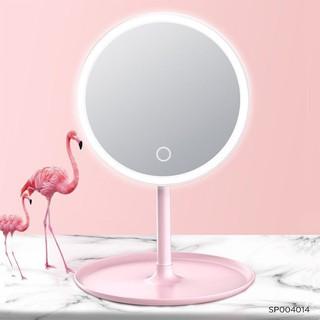 Gương để bàn đèn LED-Gương để bàn trang điểm đèn led hồng/trắng pastel (Cái)-SP004014