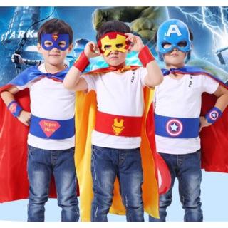 Set Áo choàng + Mặt nạ + Đai Siêu anh hùng Marvel cho bé trai
