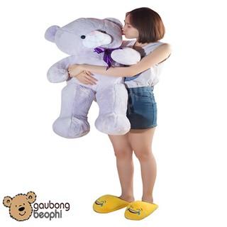 Gấu Teddy lông bột tím Khổ Vải 80cm