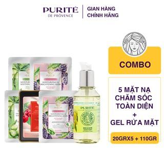 Combo 5 miếng mặt nạ Purité chăm sóc toàn diện 20gx5 + Gel Rửa Mặt 110g thumbnail