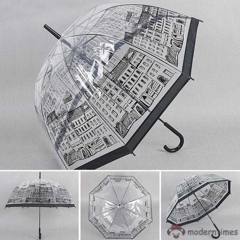 Women Transparent Clear Umbrellas House Building Outdoor Lady Girl Mushroom Rain Umbrella With Long