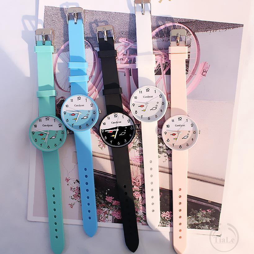 นาฬิกาผู้ชายและผู้หญิงเกาหลีลูกอมเยลลี่สีที่เรียบง่ายและน่ารักนาฬิกา 855