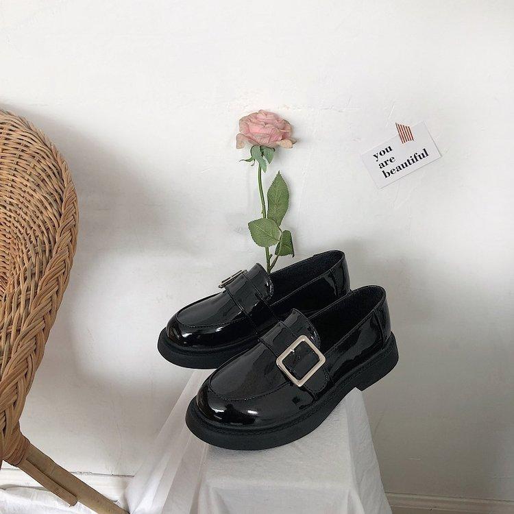 Giày Oxford Mũi Tròn Đế Bằng Phối Khóa Thời Trang Cho Nữ