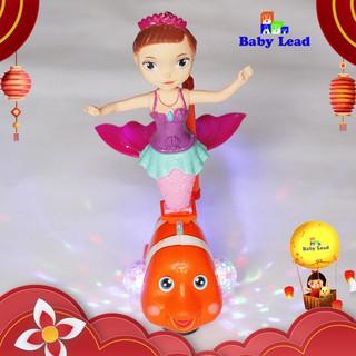 Lồng đèn nàng tiêng cá cùng cá chép vàng có đèn 7 màu cực đẹp và nhạc Babylead có cảm biến va chạm vật cản TẶNG tay cầm