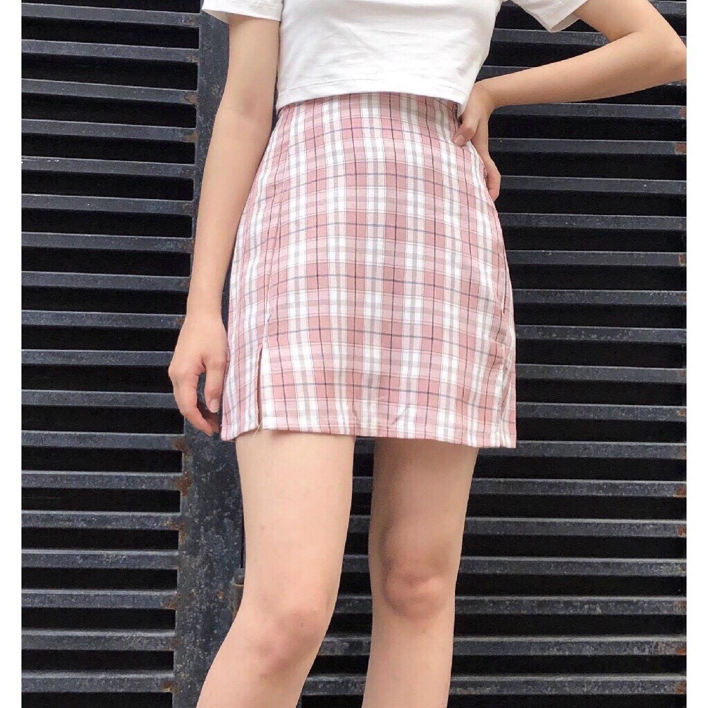 Chân váy ngắn chữ A lưng cạp cao Ulzzang họa tiết sọc caro