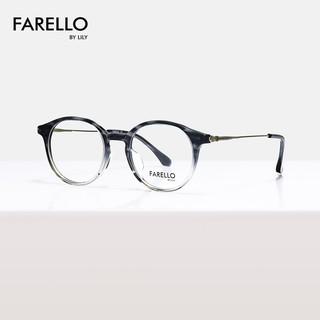 Gọng kính mắt tròn chất liệu nhựa phối kim loại thời trang nữ Alan thiết kế FARELLO by Lily