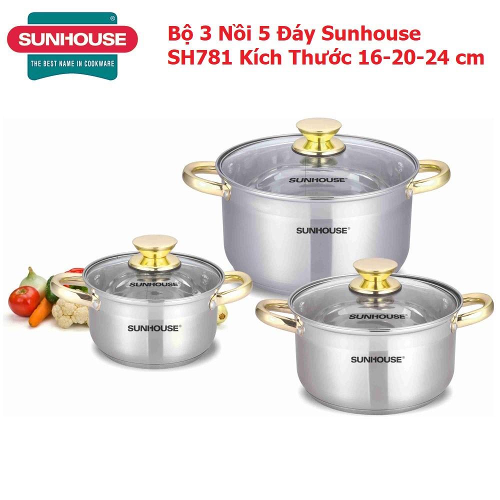 Bộ 3 Nồi 5 Đáy Sunhouse SH781 Chính Hãng