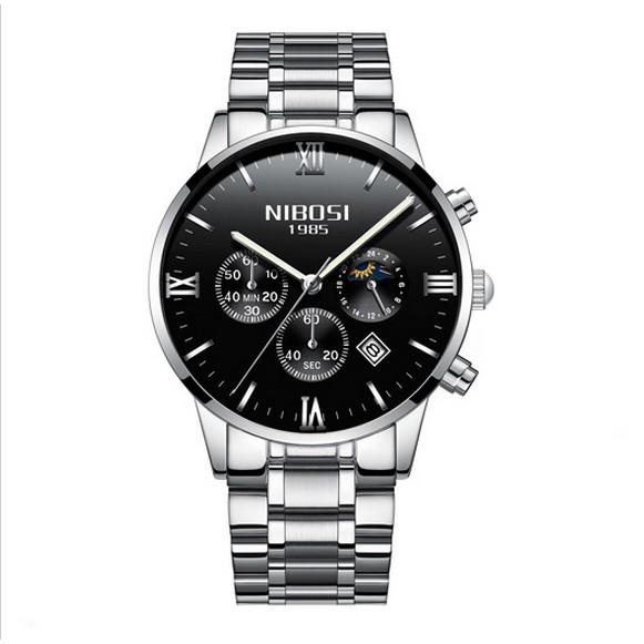Đồng hồ nam dây thép đặc fullbox Nibosi 2325