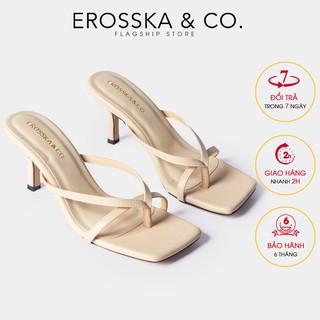Dép cao gót Erosska mũi vuông xỏ ngón phối dây cao 7cm màu nude _ EM060