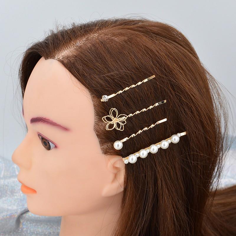 Set 4 kẹp tóc kim loại gắn ngọc trai / đá zircon thời trang nữ