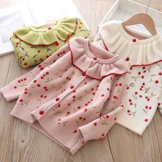 Áo khoác cardigan len dài tay cherry (2 màu) N612