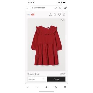 Váy nhung tăm đỏ viền bèo dài tay HM 1-10Y