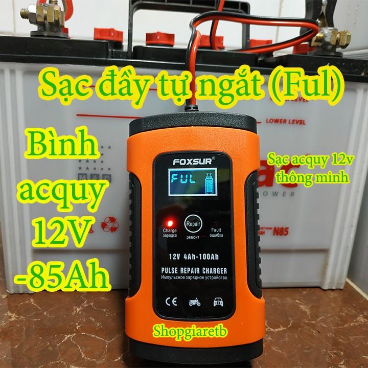 Sạc bình ắc quy 12V FOXSUR tự ngắt khi đầy chức năng bảo dưỡng phục hồi ắc quy bằng khử sunfas chống ngược cực(FOXSUR)