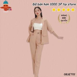 Set áo khoác vest túi nấp phối quần baggy nude trơn THOCA HOUSE lịch sự phù hợp đi làm công sở freesize dưới 56kg thumbnail
