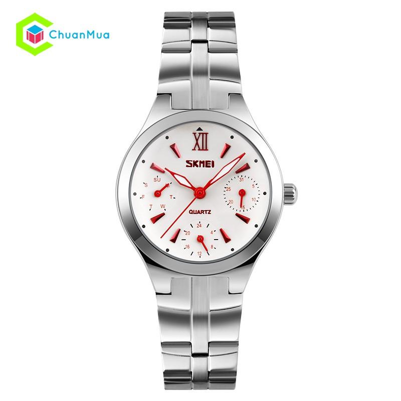 Đồng hồ Nữ Skmei 9132 6 kim thật DHA447 - Kim Đỏ