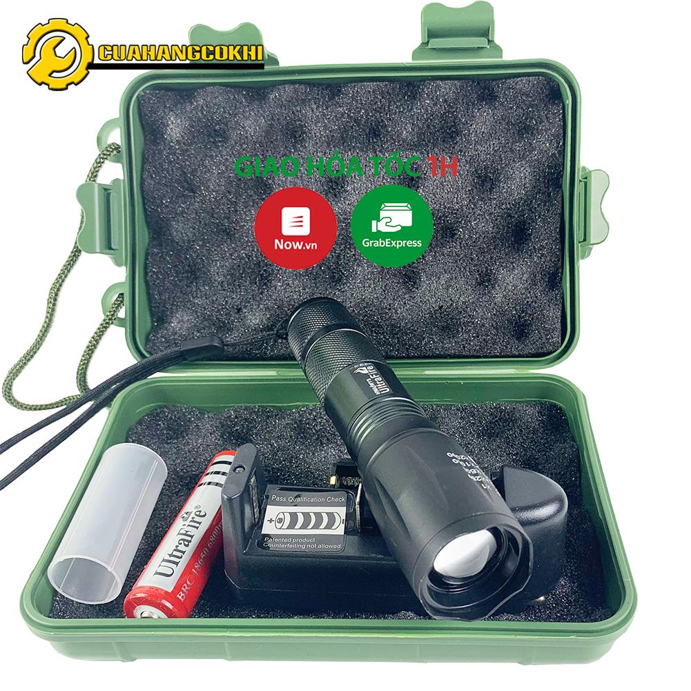 Đèn pin siêu sáng T6 pin cực lâu nhỏ gọn chiếu xa 200m đủ phụ kiện : sạc pin  hộp đựng chuyên dụng cho dân phượt tại Hà Nội