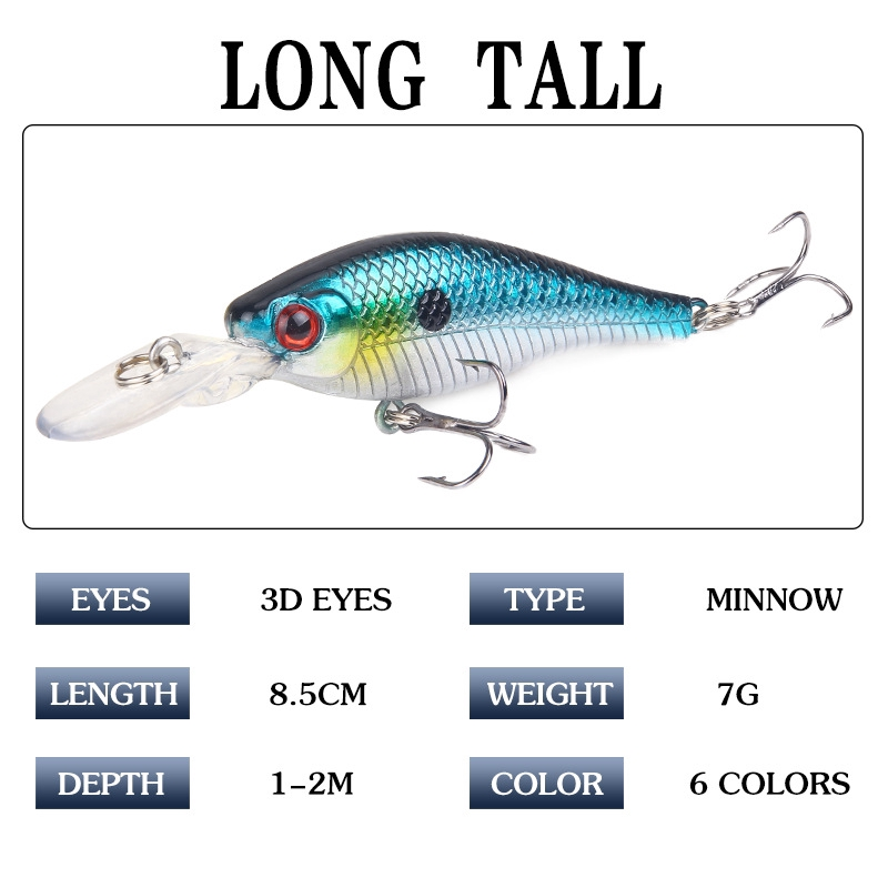 1pcs 8.5cm/7g  Minnow Fishing Lures Floating Artificial Hard Bait Bass Topwater