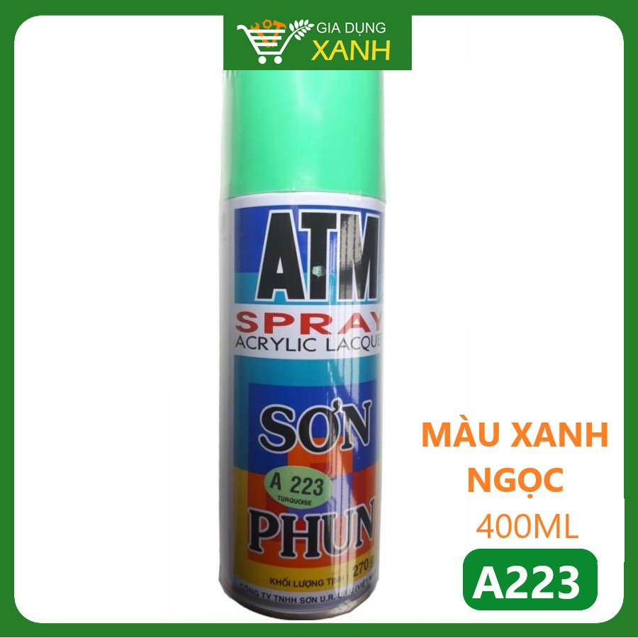 Sơn phun, xịt ATM màu xanh ngọc A223, 400ml
