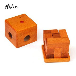 HiIie Wooden Cubic Blocks Brain Teaser Lock Puzzle Game