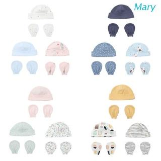 Bộ Găng Tay + Mũ Cotton Bảo Vệ Chống Trầy Xước Cho Bé Sơ Sinh