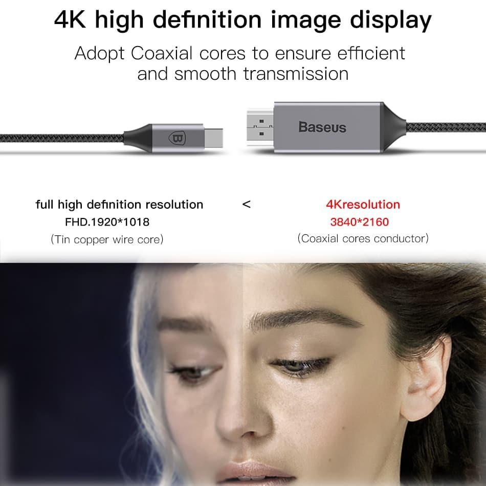 Cáp HDMI Baseus C- Video Pro xuất hình ảnh cổng C sang HDMI 4K 60Hz,Sạc PD 60W dài 180cm cho điện thoại,iPad Pro, Laptop